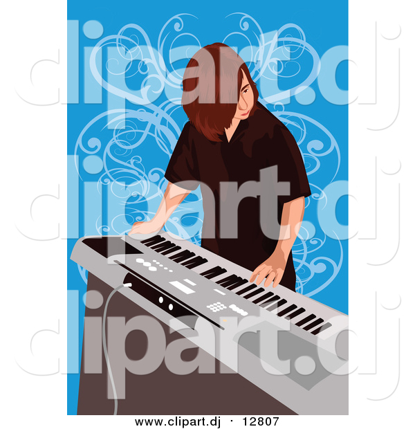 Vector Clipart of a Boy Playing Electronic Keyboard