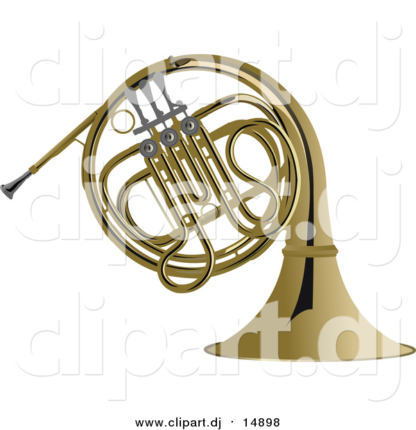 Vector Clipart of a Brass French Horn