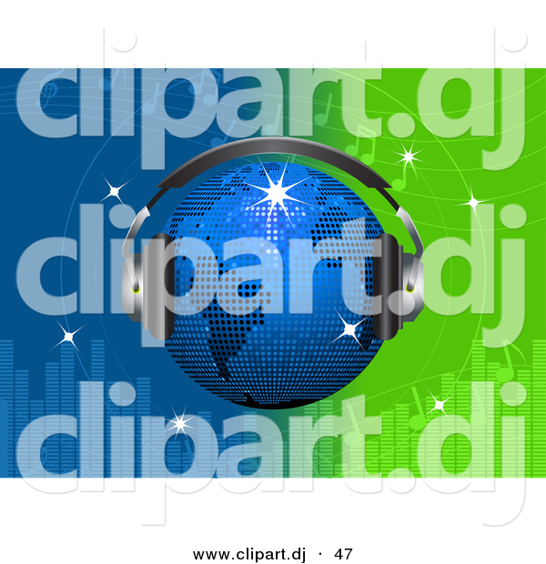 Vector Clipart of a Bright Blue Disco Globe Wearing Headphones over a Green and Blue Equalizer Background