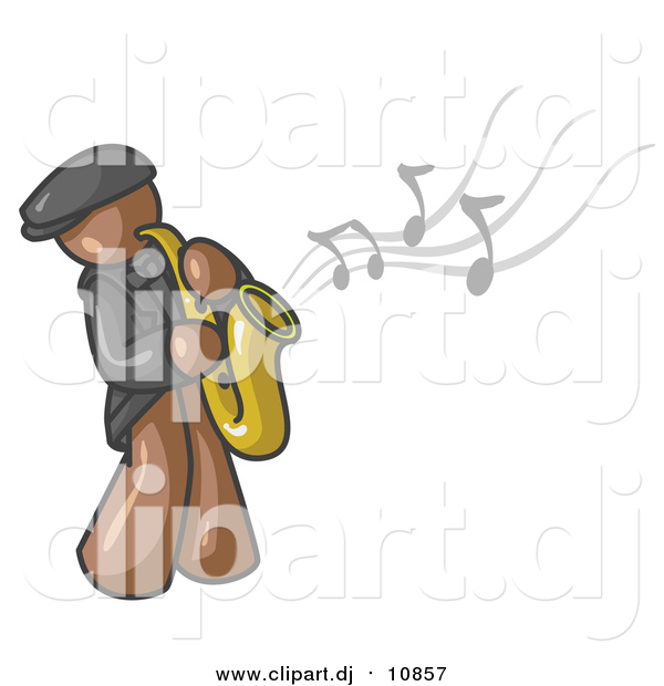 Vector Clipart of a Brown Man Playing Jazz with a Saxophone