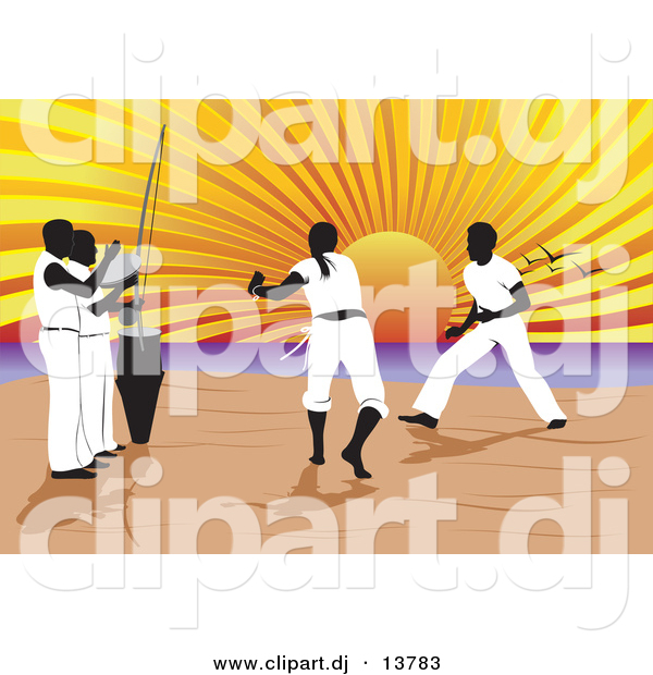 Vector Clipart of a Capoeira of Music and Martial Arts on a Beach with Sun Setting in Background