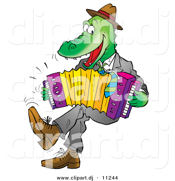 Vector Clipart of a Cartoon Alligator Playing an Accordion