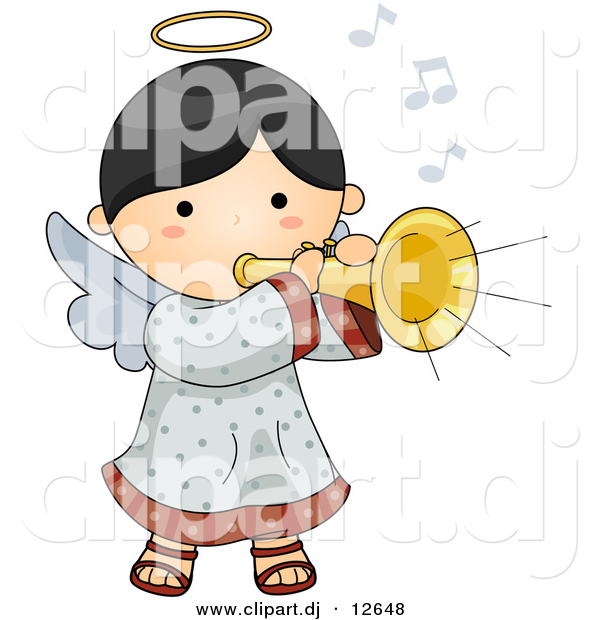 Vector Clipart of a Cartoon Angel Playing Musical Horn Instrument