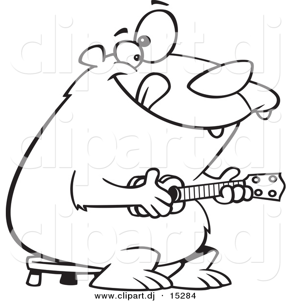 Vector Clipart of a Cartoon Bear Playing a Ukelele - Coloring Page Outline