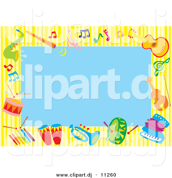 Vector Clipart of a Cartoon Blue Background Bordered by Colorful Music Instruments