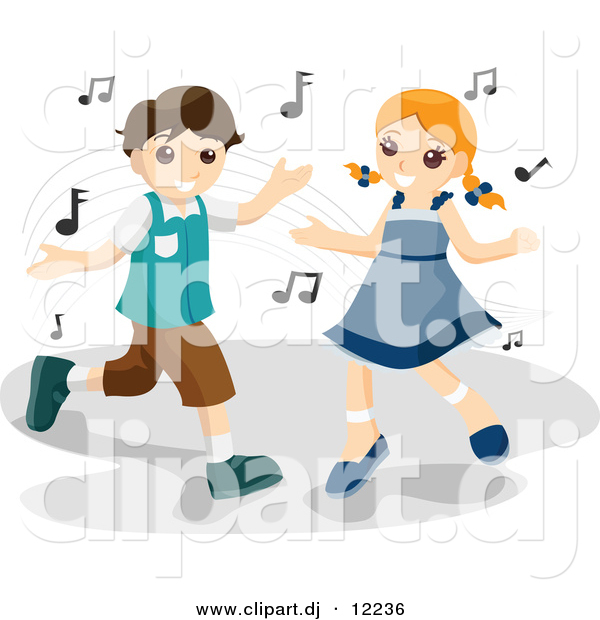 Vector Clipart of a Cartoon Boy and Girl Dancing to Music Notes