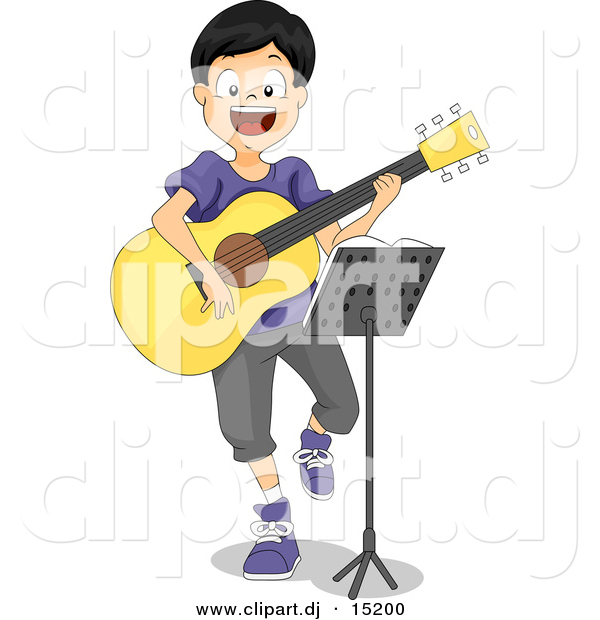 Vector Clipart of a Cartoon Boy Playing a Guitar While Sitting Behind a Stand with Sheet Music