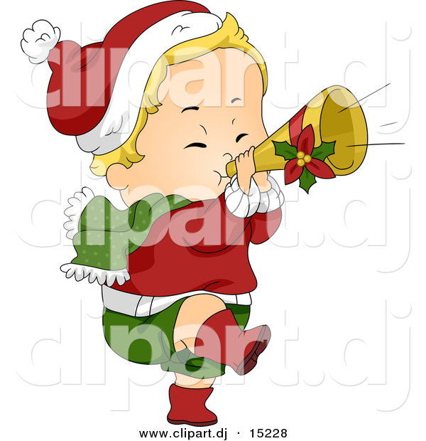 Vector Clipart of a Cartoon Christmas Baby Playing a Trumpet