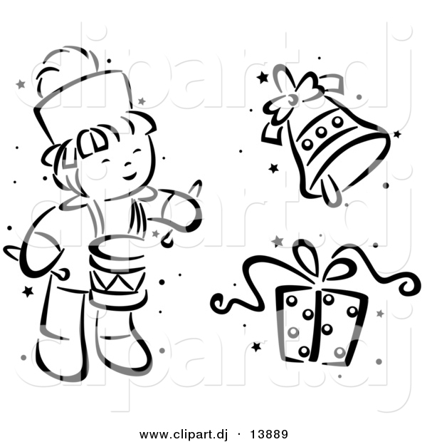 Vector Clipart of a Cartoon Christmas Drummer, Bell and Gift - Black and White Digital Collage