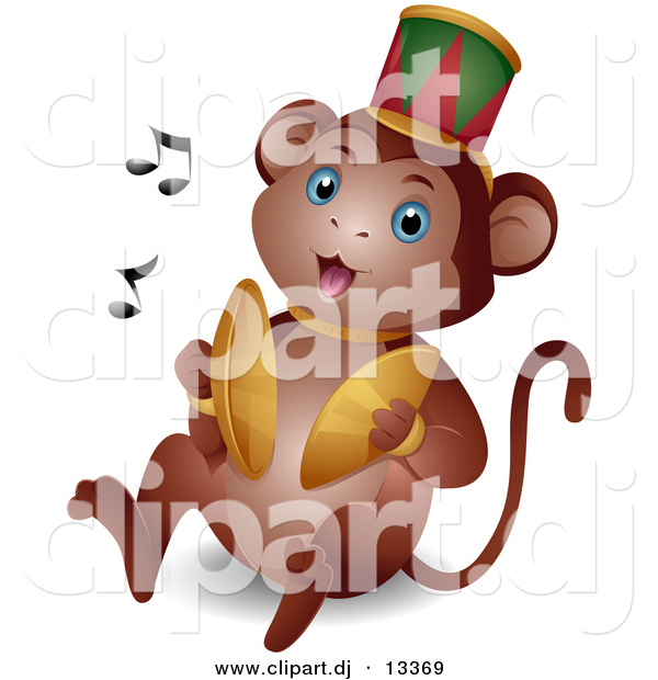 Vector Clipart of a Cartoon Circus Monkey Playing Cymbals