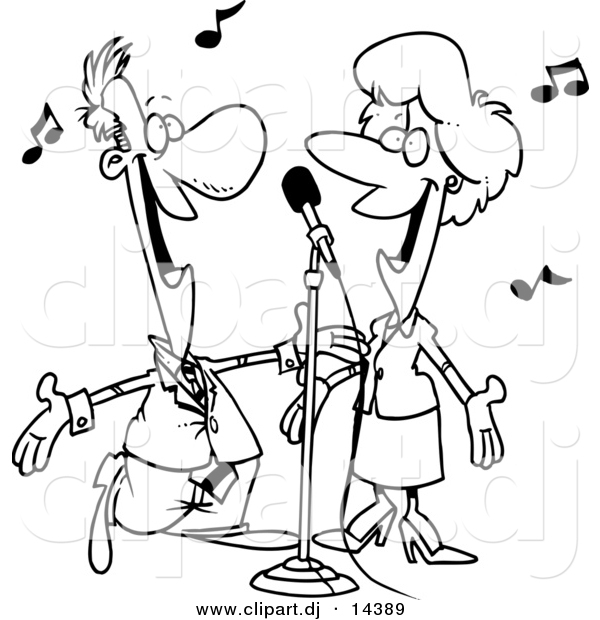 Vector Clipart Of A Cartoon Couple Singing Coloring Page