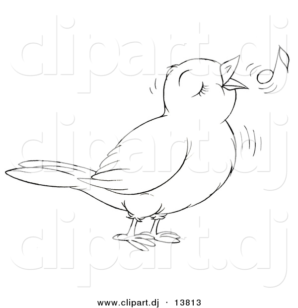 Vector Clipart of a Cartoon Cute Singing Bird - Outlined Coloring Page Art