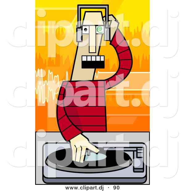 Vector Clipart of a Cartoon Disc Jockey Mixing Music Record on a Turntable