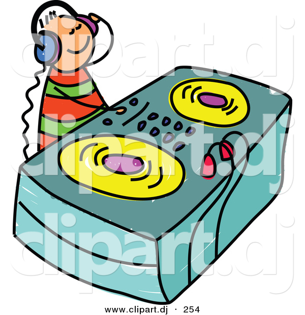 Vector Clipart of a Cartoon DJ Kid Wearing Headphones and Mixing Music