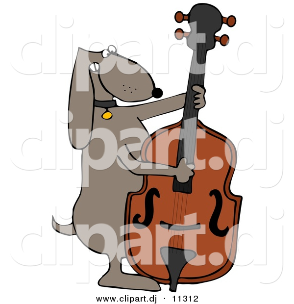 Vector Clipart of a Cartoon Dog Playing a Bass Fiddle