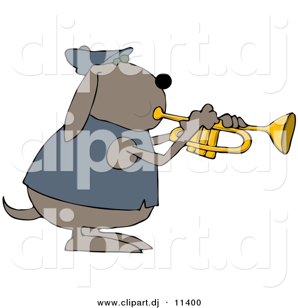 Vector Clipart of a Cartoon Dog Playing a Trumpet