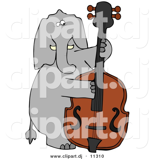 Vector Clipart of a Cartoon Elephant Playing Double Bass