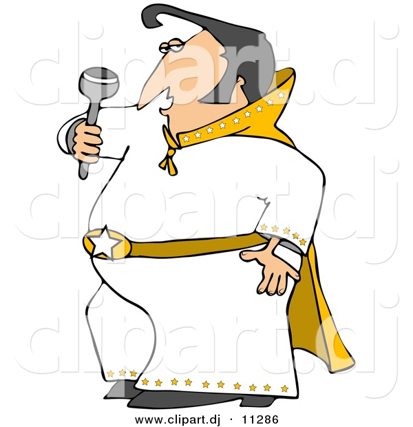 Vector Clipart of a Cartoon Elvis Impersonator Dancing and Singing with a Microphone