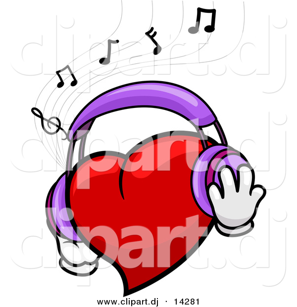 Vector Clipart of a Cartoon Heart Character Wearing Headphones While Listening to Music