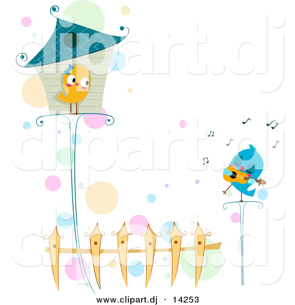 Vector Clipart of a Cartoon Love Bird Singing to Female Standing Outside House