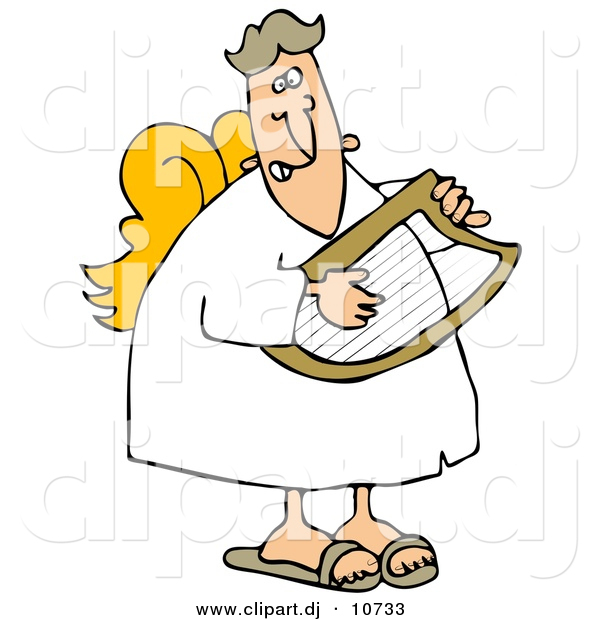 Vector Clipart of a Cartoon Male Angel Playing a Lyre