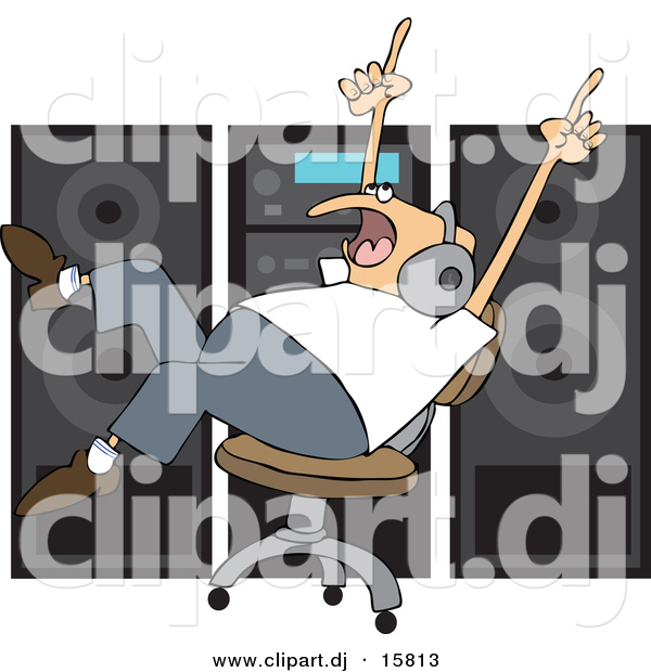 Vector Clipart of a Cartoon Man Dancing in a Chair While Listening to Music in Front of Big Speakers
