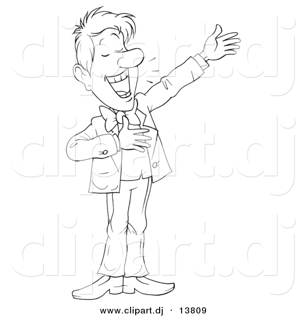 Vector Clipart of a Cartoon Man Happily Presenting Something - Outlined Coloring Page Art