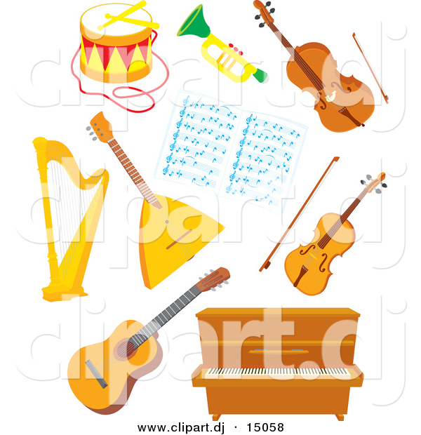 Vector Clipart of a Cartoon Musical Instruments - Digital Collage