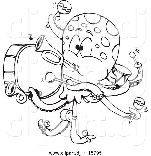 Vector Clipart of a Cartoon Octopus Band - Outline