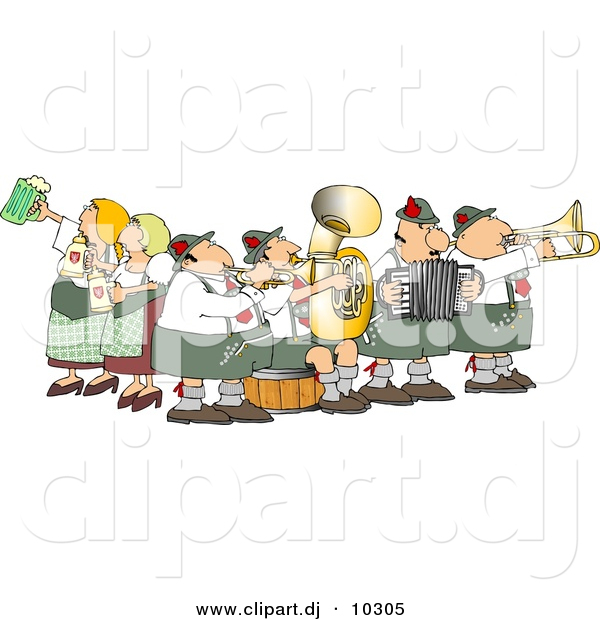 Vector Clipart of a Cartoon People Celebrating Oktoberfest - Music and Beer