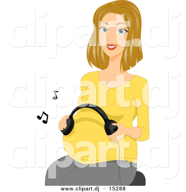 Vector Clipart of a Cartoon Pregnant Girl Using Headphones to Play Music to Her Baby