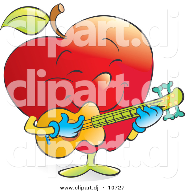 Vector Clipart of a Cartoon Red Apple Strumming a Musical Guitar