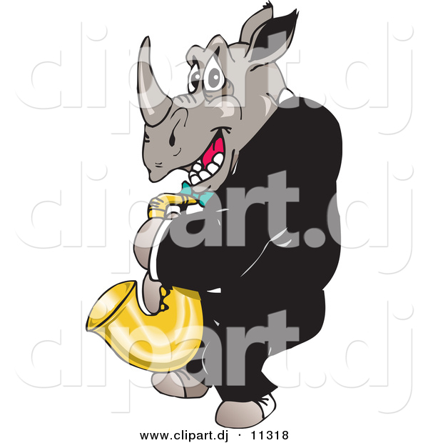 Vector Clipart of a Cartoon Rhino Playing a Saxophone