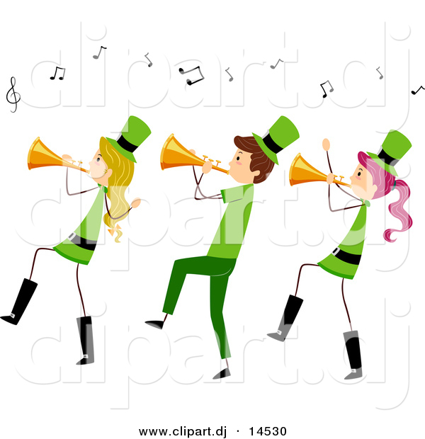 Vector Clipart of a Cartoon St. Patrick's Day Stick People Playing Trumpet Horns