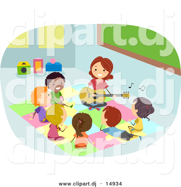 Vector Clipart of a Cartoon Teacher Playing Music to a Diverse Group of Students