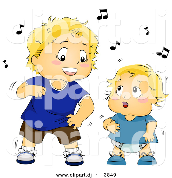 Vector Clipart of a Cartoon Toddler and Baby Boys Dancing with Music Notes