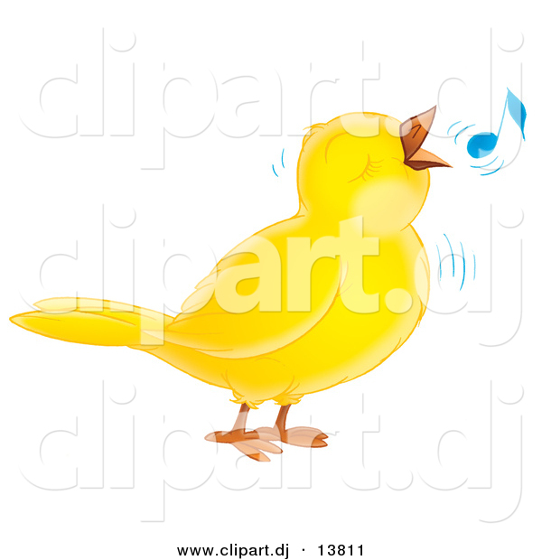 Vector Clipart of a Cartoon Yellow Whistling Bird