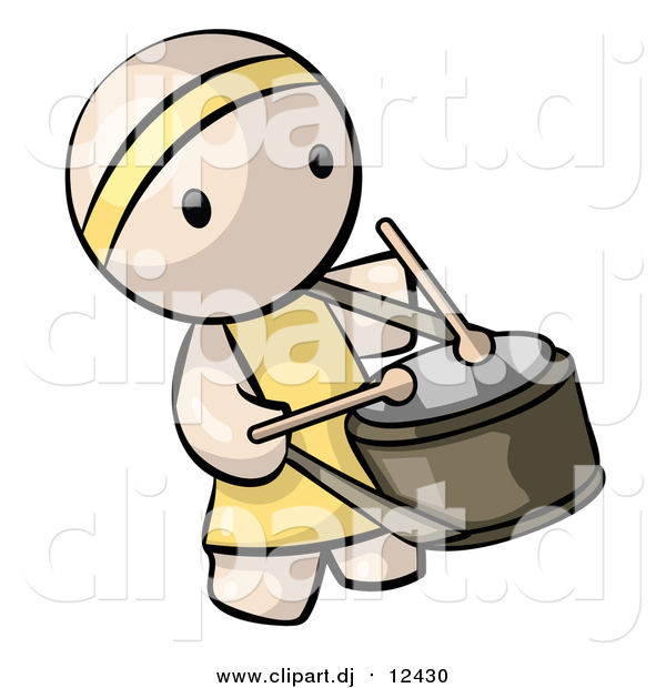 Vector Clipart of a Chinese Drummer Man
