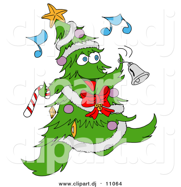 Vector Clipart of a Christmas Tree Character Ringing a Bell While Listening to Music
