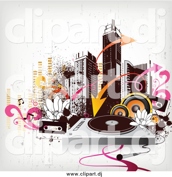 Vector Clipart of a City Skyline with Urban Grunge, Arrows, Speakers, Cassettes and a Record Player