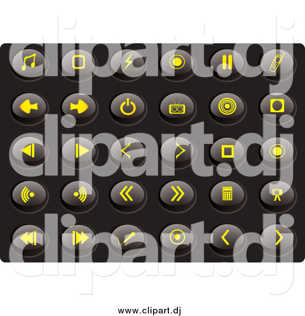 Vector Clipart of a Collection of Oval Yellow Media Icons on a Black Background