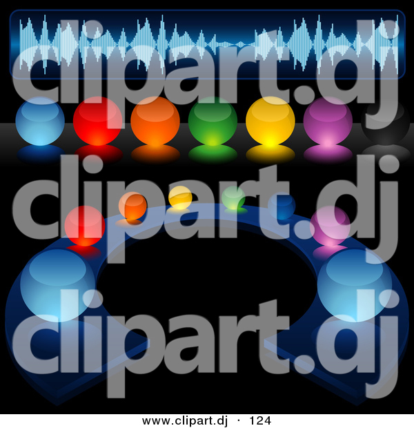Vector Clipart of a Colorful Illuminated Audio Buttons - Digital Collage