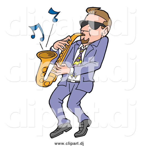 Vector Clipart of a Cool White Man Wearing Shades and Leaning Back While Playing Blues Music on a Sax