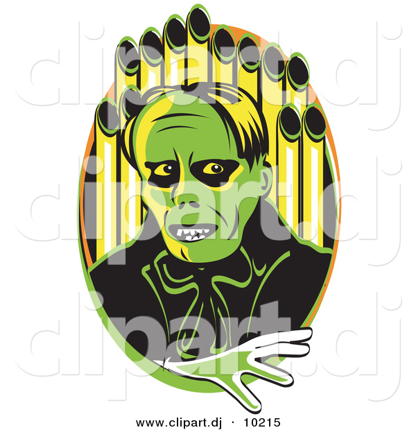 Vector Clipart of a Creepy Cartoon Phantom (of the Opera) Standing in Front of Organ Pipes