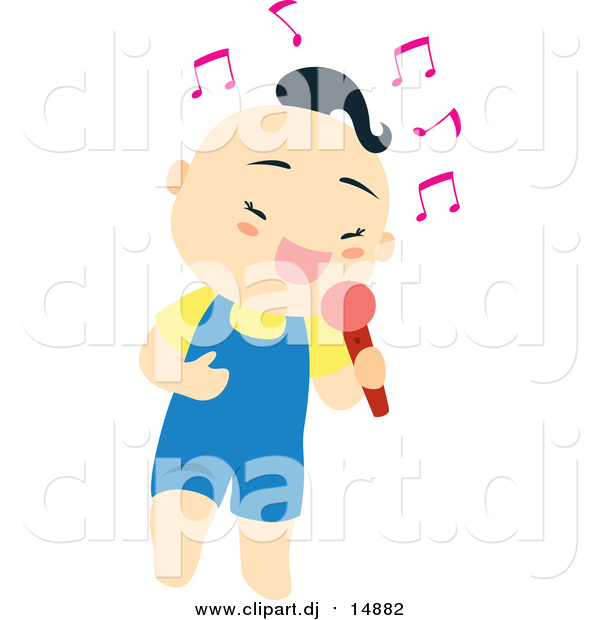 Vector Clipart of a Cute Asian Boy Singing into a Microphone