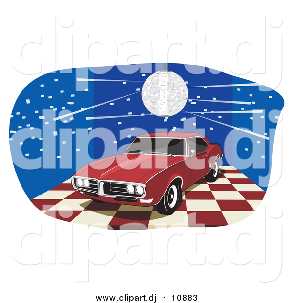Vector Clipart of a Disco Ball over Red 1968 Pontiac Firebird with Dark Tinted Windows