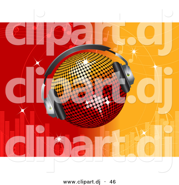 Vector Clipart of a Disco Ball Wearing Headphones over Bright Red and Orange Equalizer Background