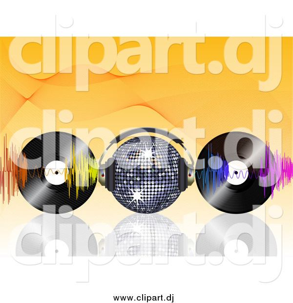 Vector Clipart of a Disco Ball Wearing Headphones, Waves and Vinyl Records on Orange