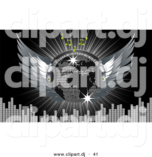 Vector Clipart of a Disco Ball with Wings, Headphones, Music Notes, Equalizer Bars, and a Burst over Black