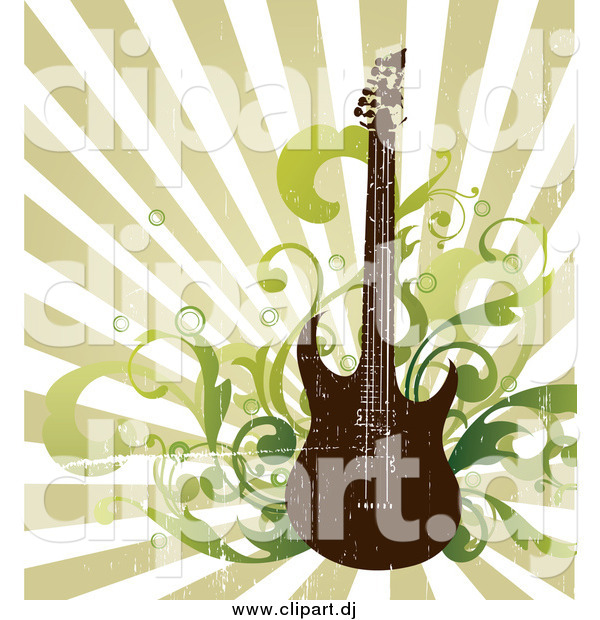 Vector Clipart of a Distressed Electric Guitar with Music Notes and Speakers over a Green Ray Background